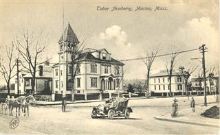 A postcard depicting the original Tabor Academy building (now the Marion Town Hall) on the left, and the Elizabeth Taber Library on the right  (click to enlarge)