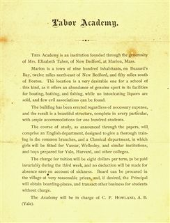 Tabor Academy's first program description, 1876  (click to enlarge)